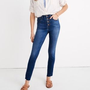 Madewell Button Fly High Rise Skinny Jeans Raw Hem